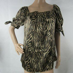 3FOR$20 Allison Taylor Top Animal Print Bow Sleeve